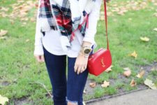 12 ripped jeans, red flats and a crossbody, a white sweater