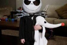 13 Jack Skellington costume in black and white