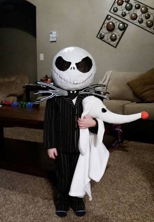 Jack Skellington costume in black and white