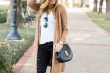 13 black jeans, a white tee, a long camel cardigan and leopard shoes