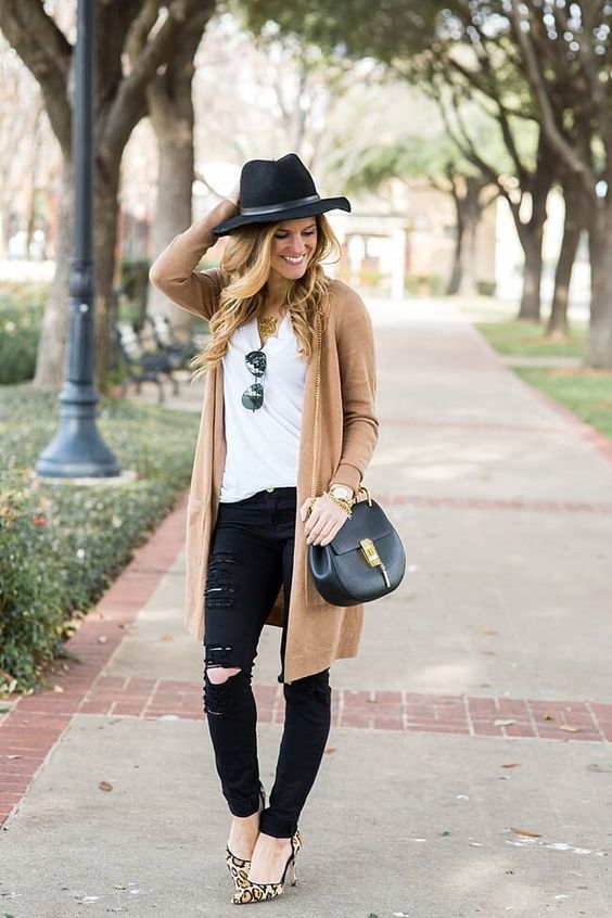 black jeans, a white tee, a long camel cardigan and leopard shoes