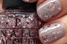 13 grey nails with rose gold glitter looks stunning