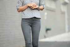 13 grey polka dot shirt tucked in grey skinnies and styled with red ballet flats or heels