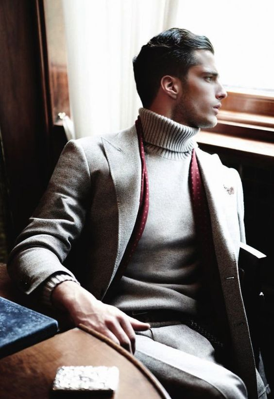 light grey tweed and a turtleneck