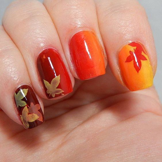 Ombre Yellow To Red Nails With Leaves