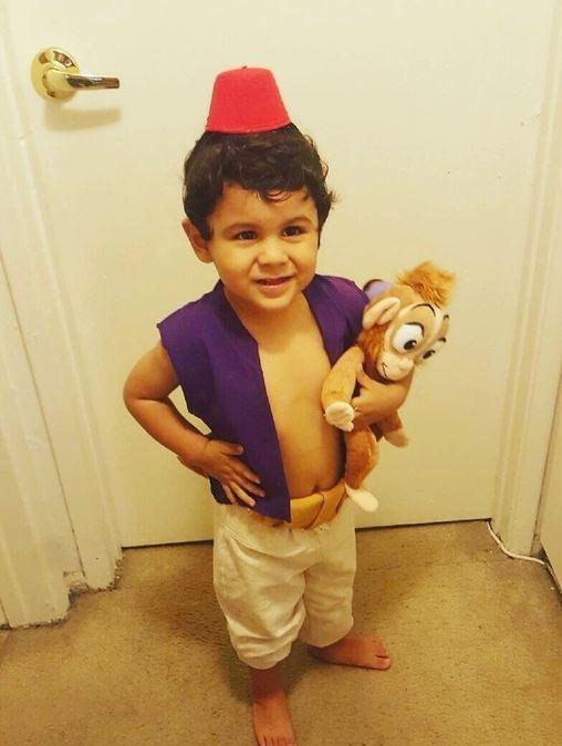 Aladdin costume idea with a toy monkey