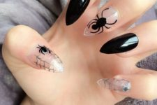 14 black and transparent nails with spiderwebs and spiders