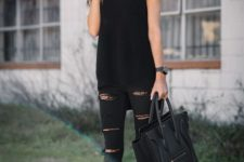 14 distressed denim, crochet top and ankle booties
