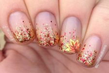 14 glitter gradient fall nails with a leaf accent