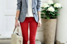14 light grey blazer with bold red skinny pants