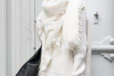 14 white oversized sweater, white blanket scarf, leather leggings