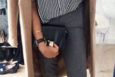 15 cropped grey pants, a striped shirt, flats and a camel coat