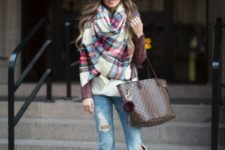 15 distressed denim, a burgundy leather jacket, a blanket plaid scarf and nude pumps