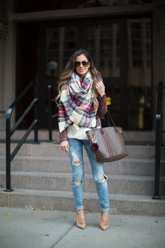 distressed denim, a burgundy leather jacket, a blanket plaid scarf and nude pumps