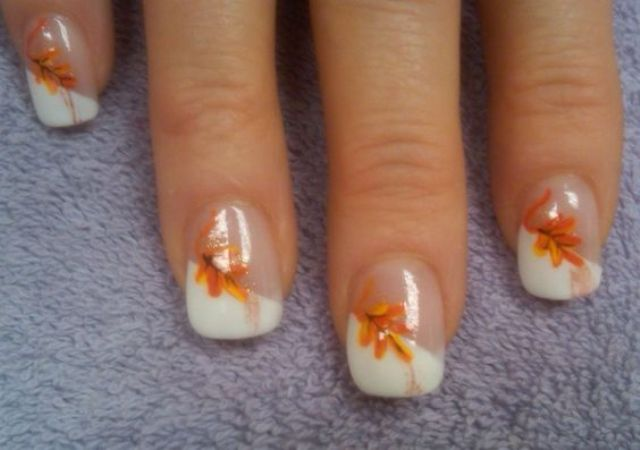 fall French manicure with leaves
