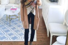 15 jeans, a long camo cardigan and grey ankle booties