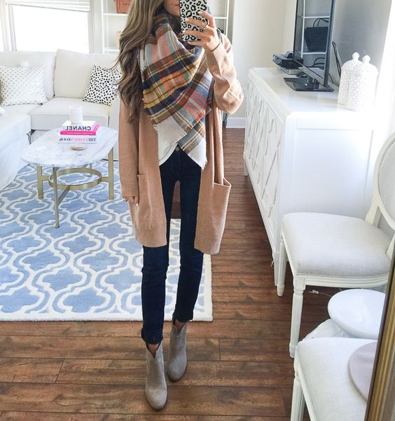 jeans, a long camo cardigan and grey ankle booties