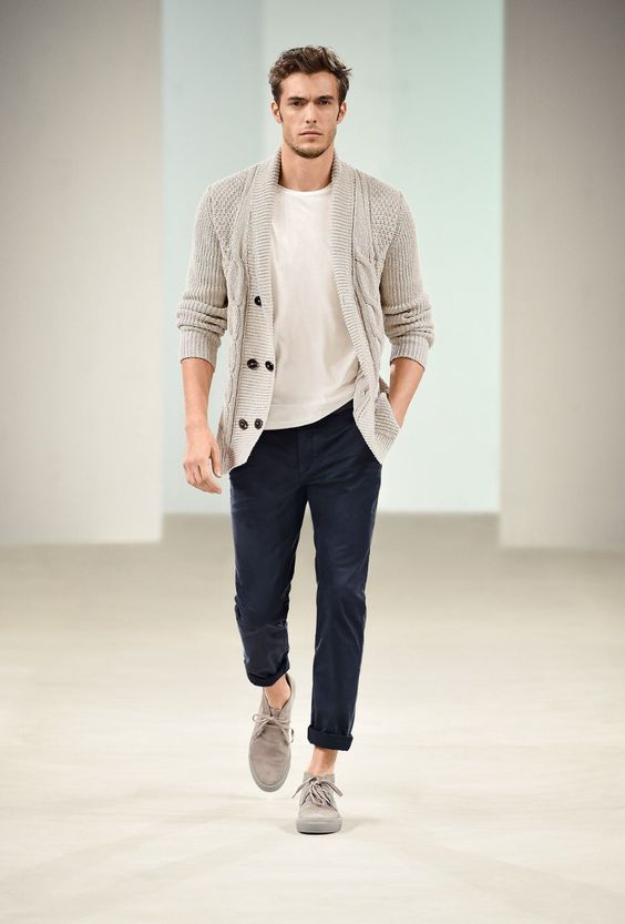 navy pants, an ivory tee and cardigan for a relaxed fall look