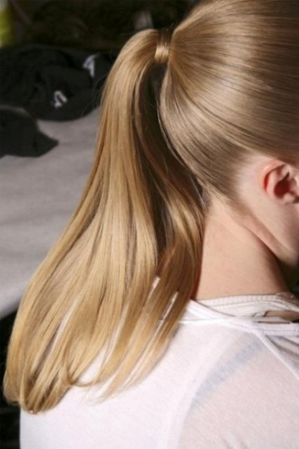 super sleek ponytail is another option to keep the hair off the neck