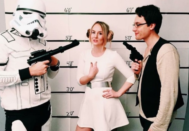 Stormtrooper, Princess Leia, and Han Solo