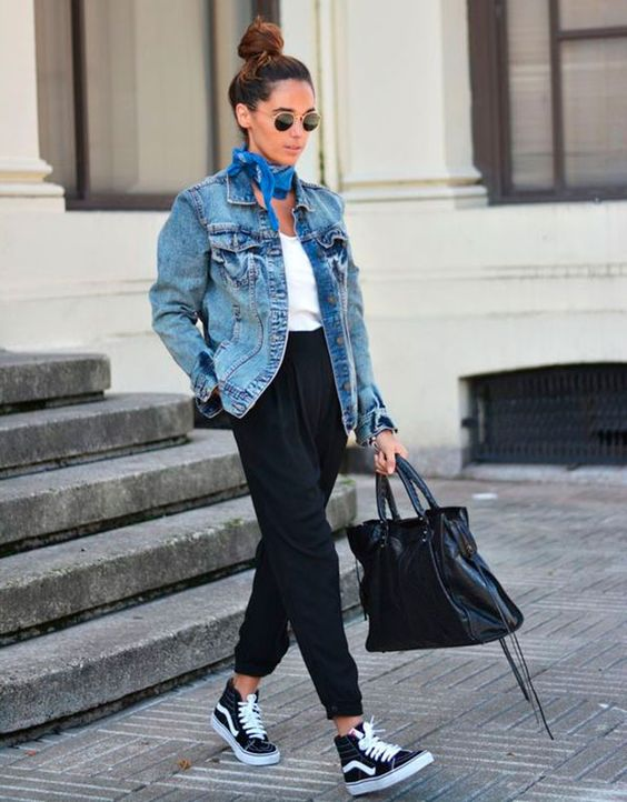 high waist trousers, a white top and a denim jacket