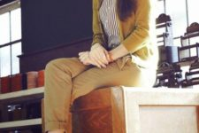 16 mustard pants and cardigan, a striped shirt and black heels