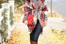 17 a belted plaid blanket scarf over a striped T-shirt, skinny jeans and knee high boots
