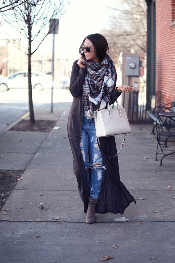 floor length dark brown cardigan, ripped jeans, a blanket scarf