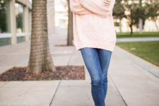 17 jeans, an oversized blush sweater and boots
