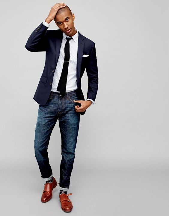 jeans,a striped shirt, a navy blazer and brown shoes