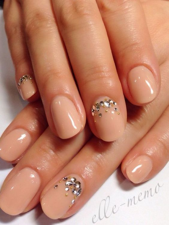 Picture Of Nude Nails With Rhinestone Accent Nails