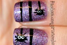 18 glitter purple nails with funny spider decals