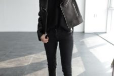 18 jeans, a top, ankle boots and a leather jacket