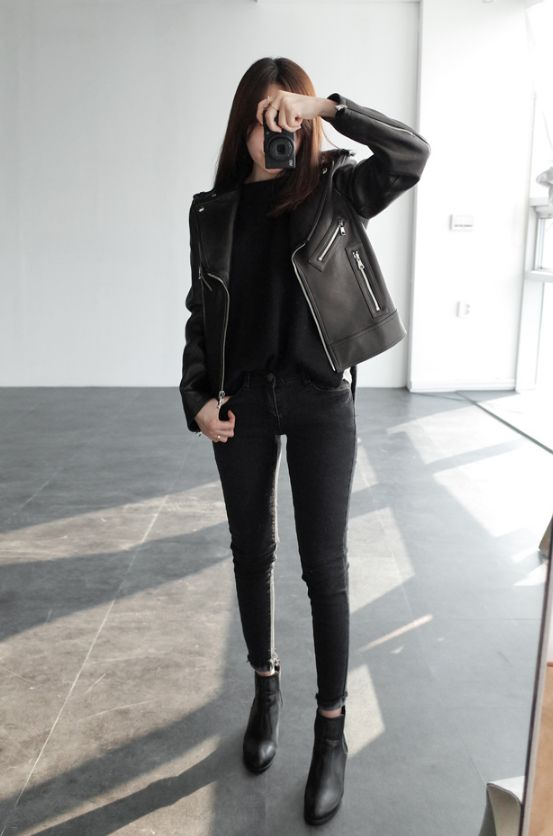 Picture Of jeans, a top, ankle boots and a leather jacket