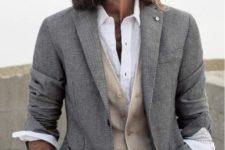 18 ocher pants, a cream vest and a shirt
