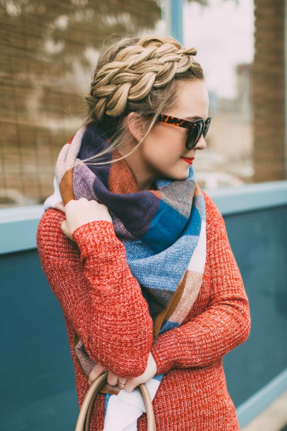 Dutch crown braid won't prevent you from wearing a blanket scarf