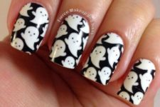 19 black and white ghost nail art