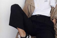 19 black trousers, a white t-shirt,a camel raincoat and black chucks