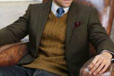 19 dark denim, an ocher knit vest and a dark green jacket