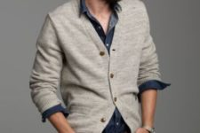 19 ivory cardigan, a chambray shirt and navy jeans