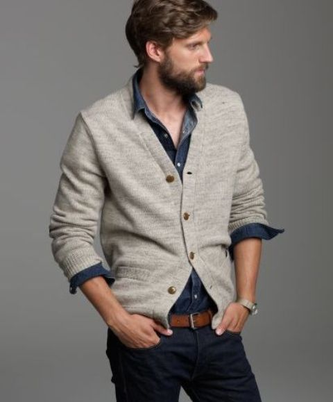 ivory cardigan, a chambray shirt and navy jeans