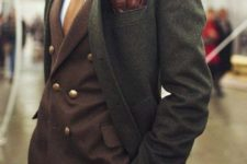 20 a dark green overcoat to cover a classic suit in fall colors