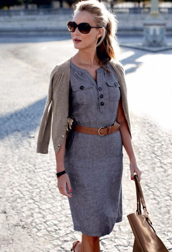 chic office dress with a beige cardigan and heels