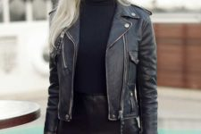 20 leather mini skirt, a turtleneck and a jacket for a badass look