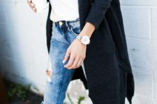 20 long black cardigan, distressed blue jeans and heels