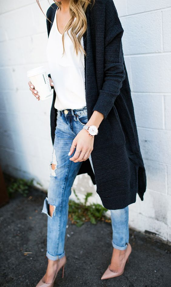long black cardigan, distressed blue jeans and heels
