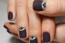 20 matte brown nails with rhinestone accents
