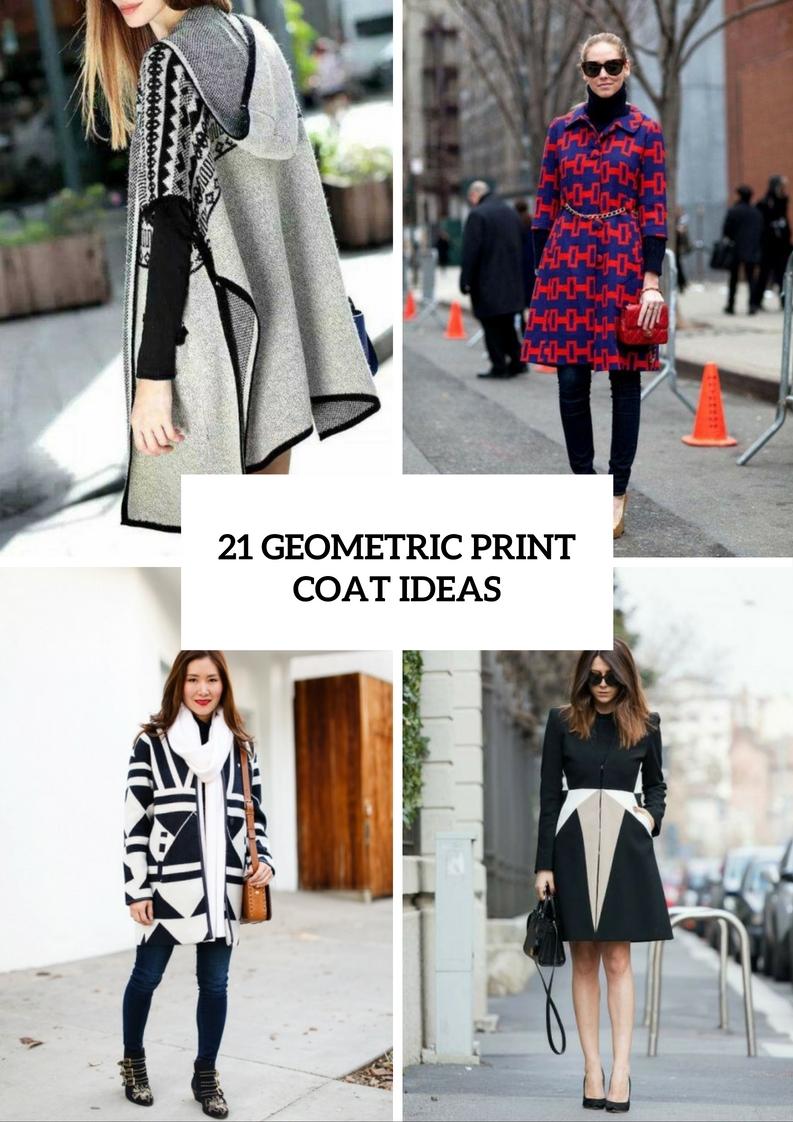 Unique Geometric Print Coats For Ladies