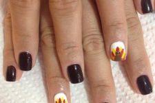 21 dark brown nails with fun turkey accent nails