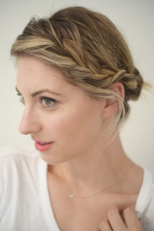 fuss free side braid updo is easy to make in the morning